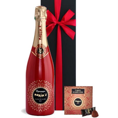 《父の日 2021》【シャンパンとスイーツのギフト】フランス MAXIM'S DE PARIS「シャンパーニュ ブラン・ド・ノワール キュヴェ・アンネ・フォール」とショコラトリュフ