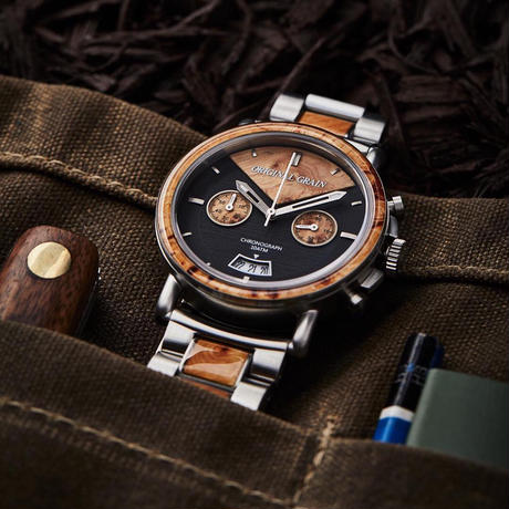 The Alterra Chronograph 44mm - THE MARC (Burl Wood/Steel)