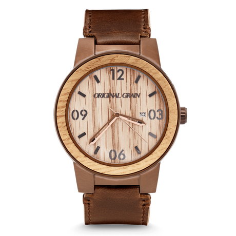 The Barrel 47mm - Whiskey/Espresso Barrel/Distressed Brown Leather