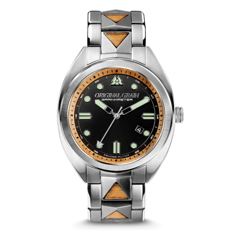 The Grainmaster 45mm Swiss Auto - Burlwood Silver