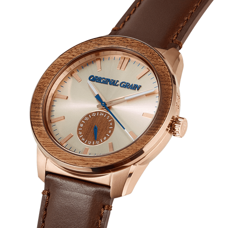 The Barrel 2.0 46mm - Sapele Rose Gold/Leather/24HR WOOD SUBDIAL