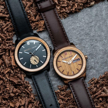 The Barrel 2.0 46mm - Whiskey Barrel/Black Leather/24HR WOOD SUBDIAL