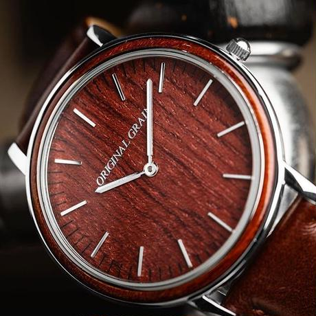 The Minimalist - Rosewood/Chrome/Brown Leather Band/Wood Dial