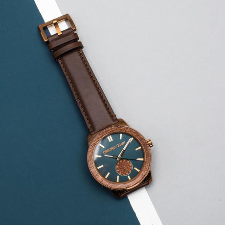 The Barrel 2.0 46mm - Sapele Bronze/Leather/24HR WOOD SUBDIAL