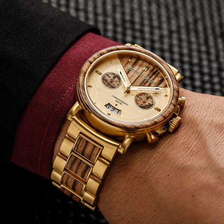 The Alterra Chronograph - CAPITAL (Zebrawood/Gold)