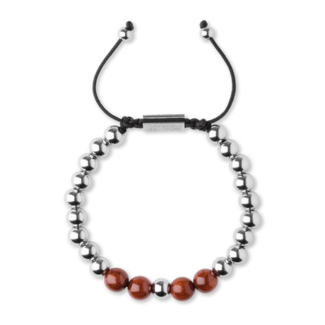 Macrame Bracelet 8mm - Rosewood/Chrome