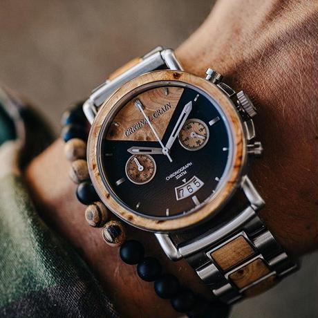 The Alterra Chronograph - THE MARC (Burl Wood/Steel)
