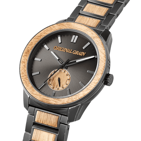 The Barrel 2.0 46mm - KOA STONEWASHED STEEL /24HR WOOD SUBDIAL