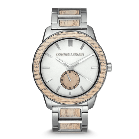 The Barrel 2.0 46mm - Driftwood Stonewashed Steel /24HR WOOD SUBDIAL