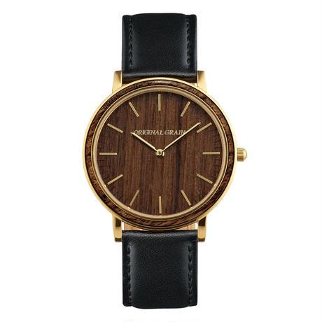The Minimalist - Ebony/Gold/Black Leather Band/Wood Dial