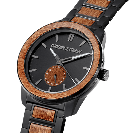 The Barrel 2.0 46mm - Sapele Black/24HR WOOD SUBDIAL