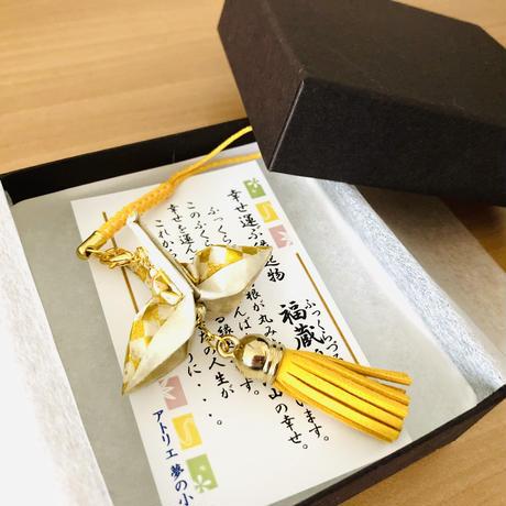 折り鶴ギフト 市松模様 金と黄色 箱入り