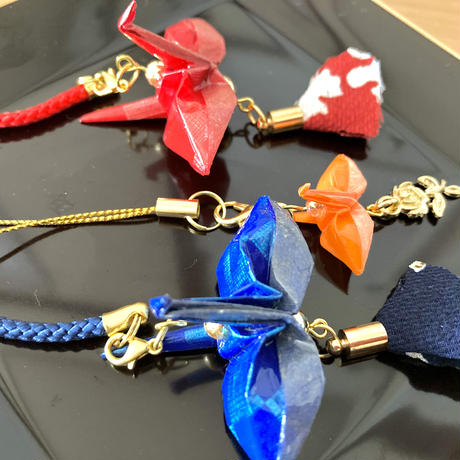 折り鶴ギフト 赤&青&ミニオレンジ 箱入り メタリックレッド&メタリックブルー &ミニオレンジ