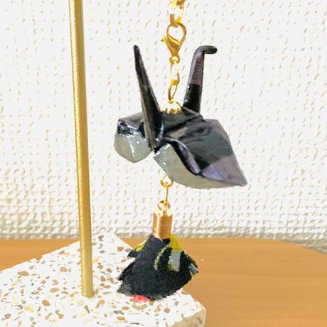 折り鶴ギフト 黒 メタリックブラック 箱入り