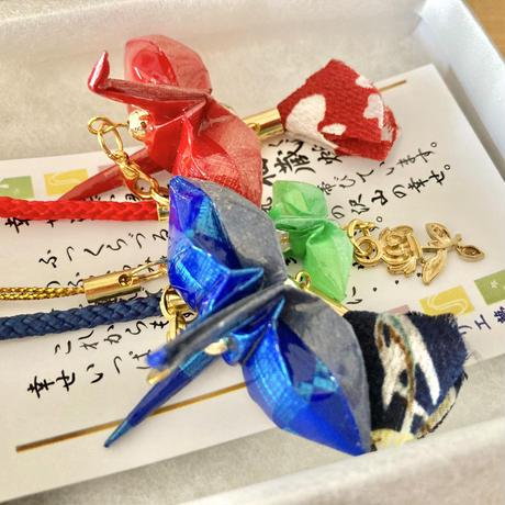 折り鶴ギフト 赤&青&ミニ黄緑 箱入り メタリックレッド&メタリックブルー &ミニ黄緑