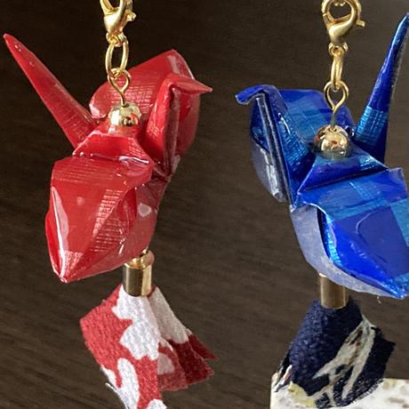 折り鶴ギフト 赤&青 箱入り メタリックレッド&メタリックブルー