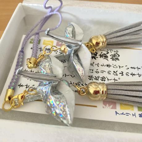 折り鶴ギフト 銀×2 箱入り