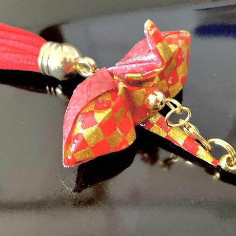 折り鶴ギフト 市松模様 金と赤 箱入り