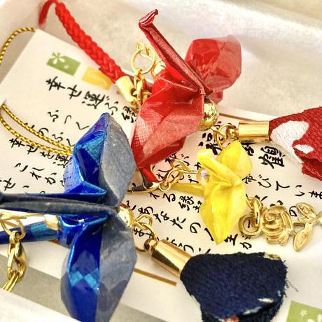 折り鶴ギフト 赤&青&ミニ黄 箱入り メタリックレッド&メタリックブルー &ミニイエロー