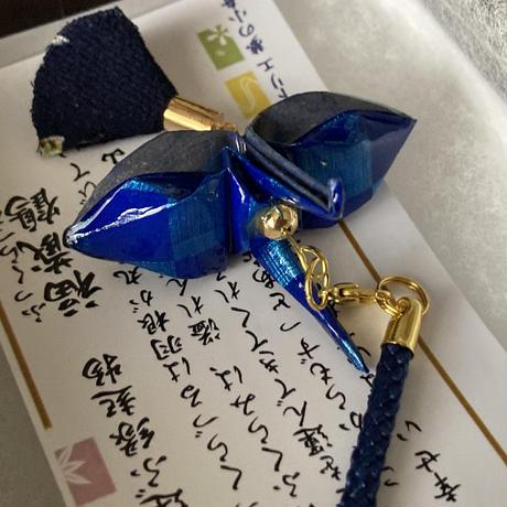 折り鶴ギフト 青 メタリックブルー 箱入り
