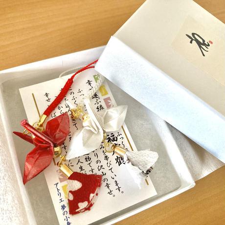 折り鶴ギフト 赤&白 箱入り メタリックレッド&メタリックホワイト