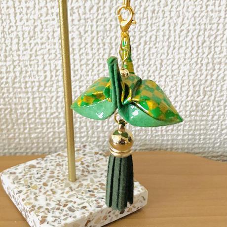 折り鶴ギフト 市松模様 金と緑 箱入り