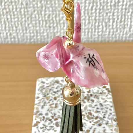 折り鶴ギフト 桜 ピンク 漢字「祈」