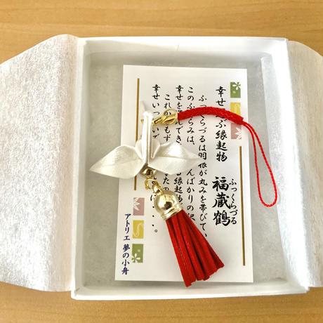折り鶴ギフト 白  漢字「結」 メタリックホワイト 箱入り