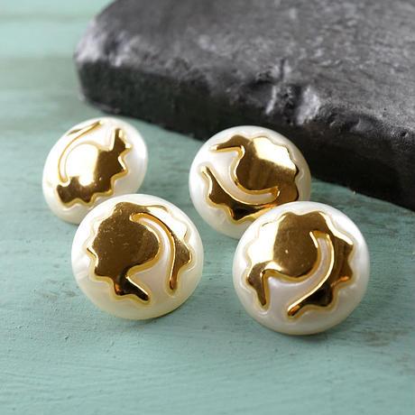 ◆4個◆【vi0123】アクリルヴィンテージボタン18mmホワイトゴールド