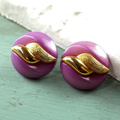 ◆2個◆【vi0122】アクリルヴィンテージボタン23mmパープルゴールド