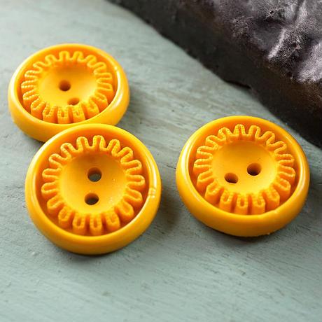 ◆3個◆【vi0125】アクリルヴィンテージボタン18mmからし色