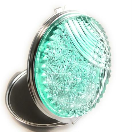 東京切子コンパクトミラー 流菊 Futuristic Silver ピーコックグリーン