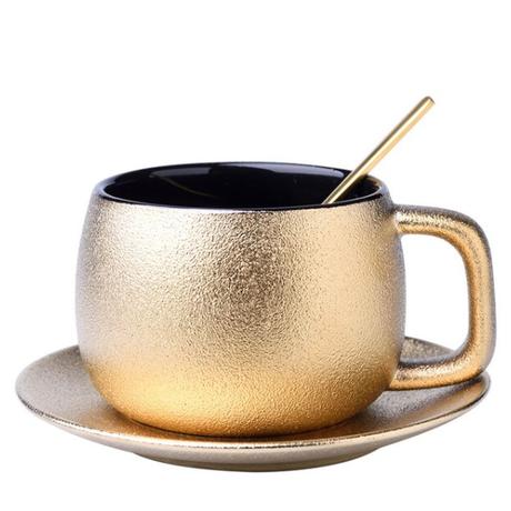 高品質ゴールドコーヒーカップセット曇りセラミックティーカップセットホームモダンマグカップエスプレッソコーヒー 1カップ単品