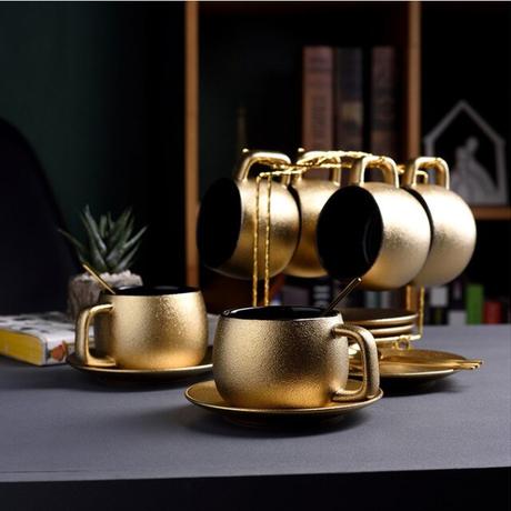 高品質ゴールドコーヒーカップセット曇りセラミックティーカップセットホームモダンマグカップエスプレッソコーヒー 4スプーン+4カップ&ソーサラーセット