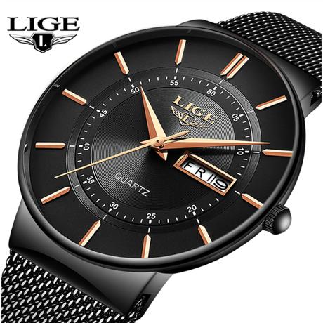【全5色】 LIGEメンズウォッチトップブランドラグジュアリー超薄型日付時計男性スチールストラップデイリークォーツ時計