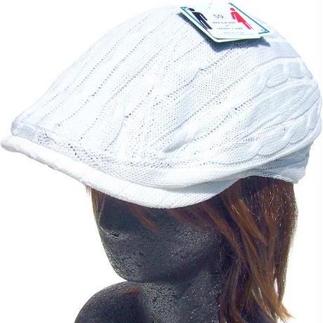 シューリン ニット ハンチング ケーブル編み ホワイト