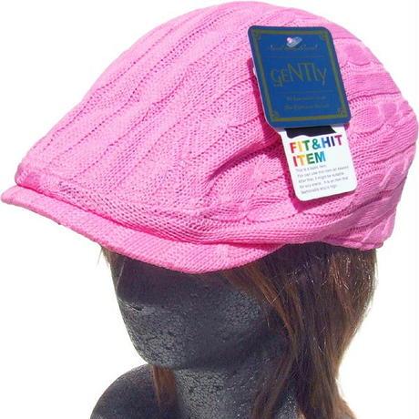 シューリン ニット ハンチング ケーブル編み ピンク