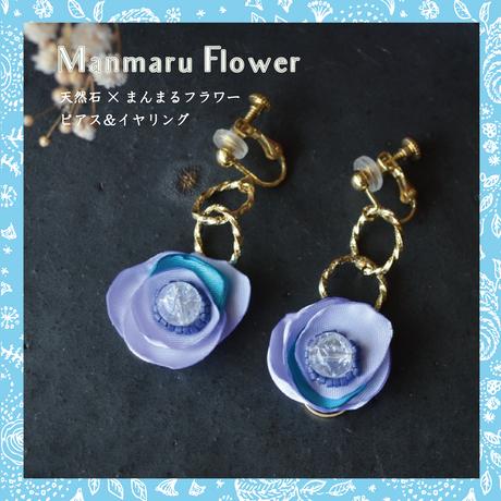 【天然石】揺れるまんまるフラワーピアス&イヤリング(紫×クラッククオーツ)