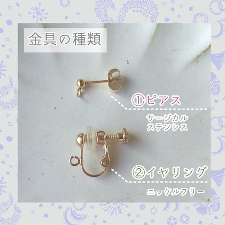 2way天然石の3蓮耳飾り【whiteミニドーナツ】