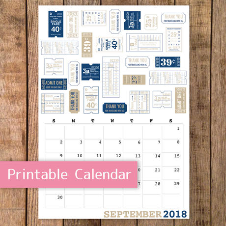 【PDF】チケットパターンのカレンダー2018年9月