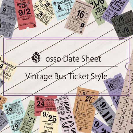 【PDF】osso日付シートビンテージバスチケット風9月【万年タイプ】
