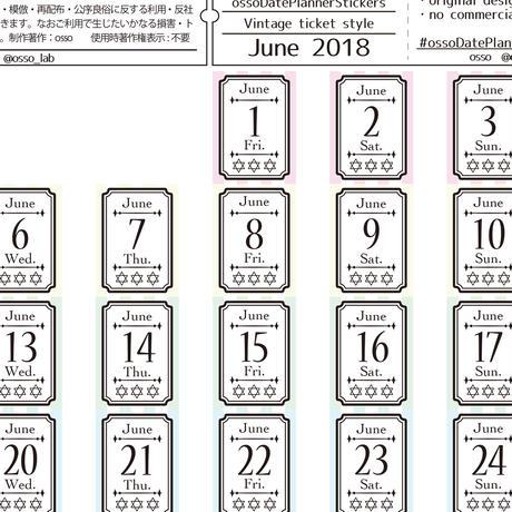 【PDF】osso日付シート 2018年6月 フレームチケットタイプ