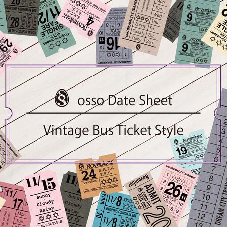 【PDF】osso日付シートビンテージバスチケット風11月【万年タイプ】