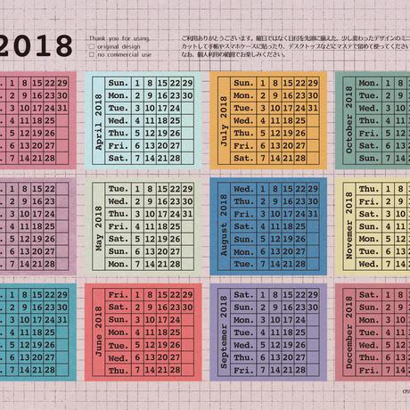 【PDF】小さなカレンダー2018