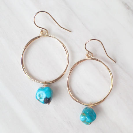 K14GF turquoise hoop pierce