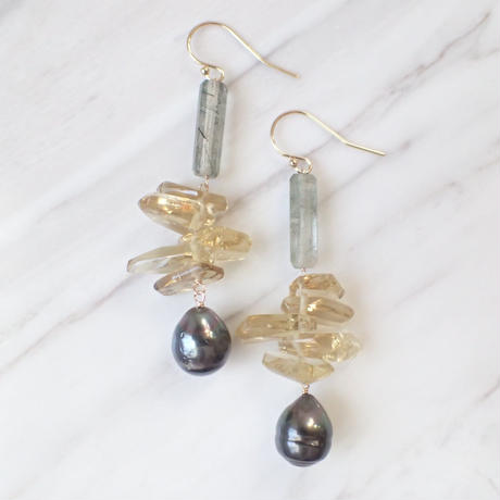 K14GF green rutiled quartz&pearl pierce