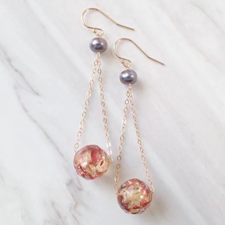 K14GF water pearl & amber pierce