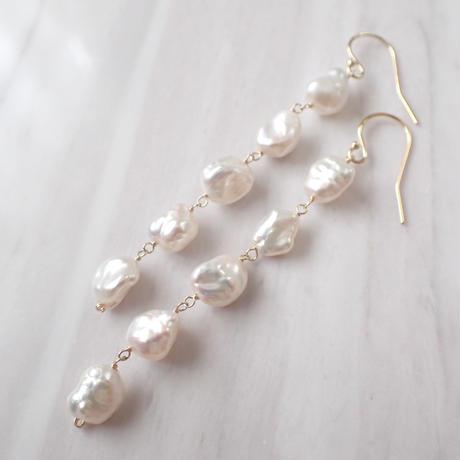 K14GF keshi water pearl long pierce