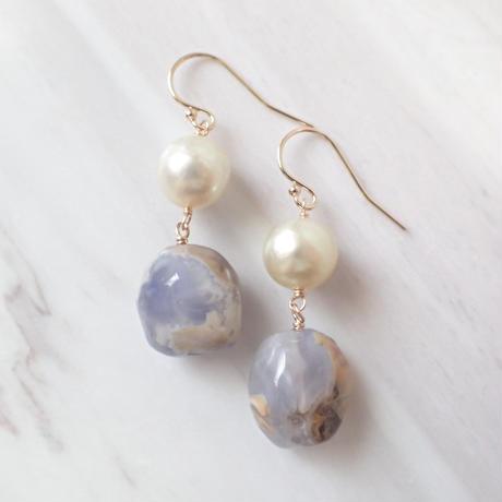 K14GF lace agate & southern sea pearl pierce
