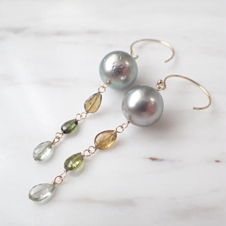 【SALE】K14GF multi-color tourmaline & southernsea pearl long pierce